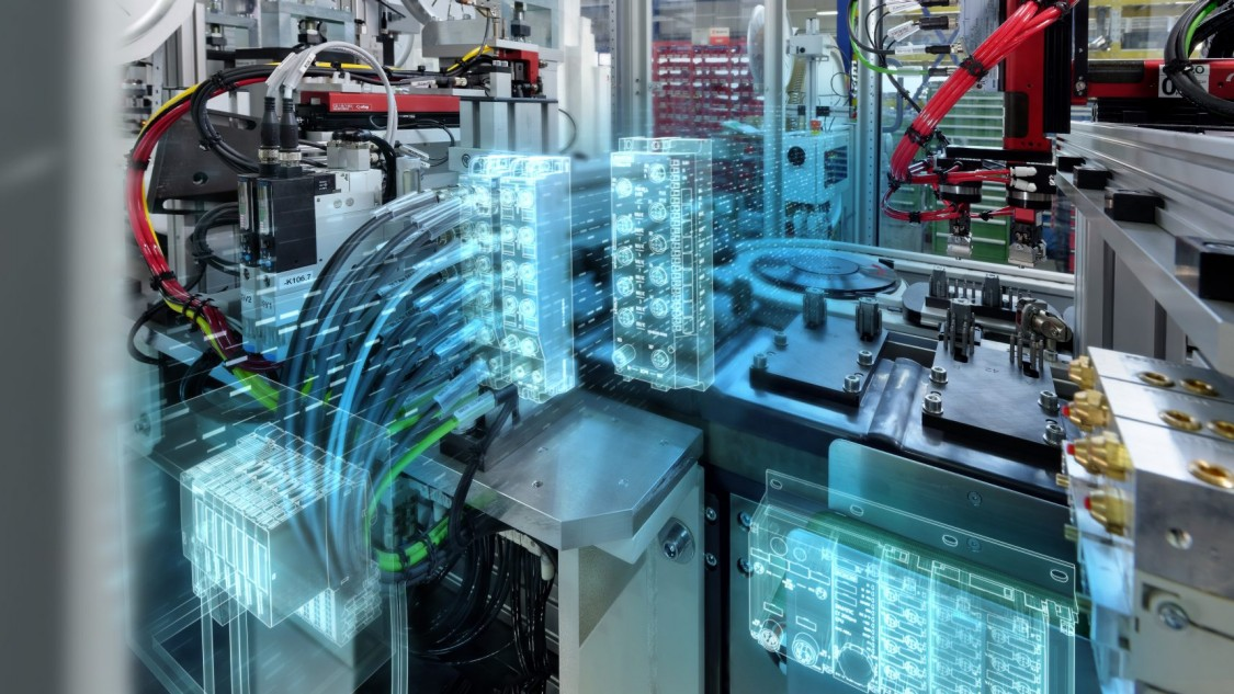 sistema industrial com filtros azuis representando a tecnologia presente no clp simatic et 200 da siemens