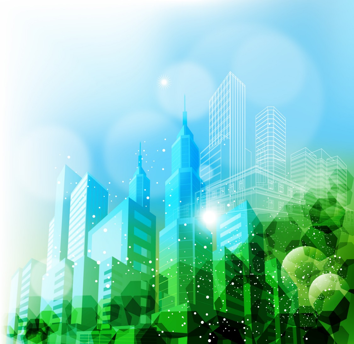 This green-blue graphic of city buildings and stylized trees demonstrate the push towards urbanization and sustainability in mobilty