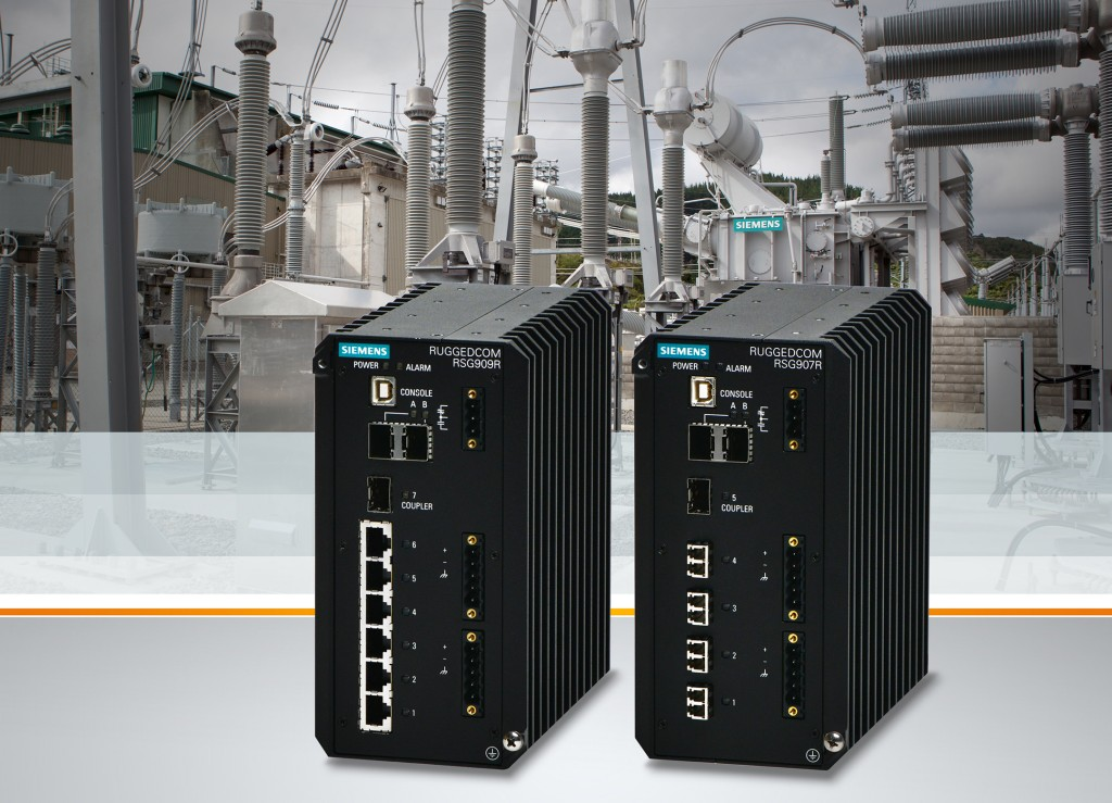 The picture shows the Ruggedcom RSG907R and the Ruggedcom RSG909R Gigabit Ethernet switches.