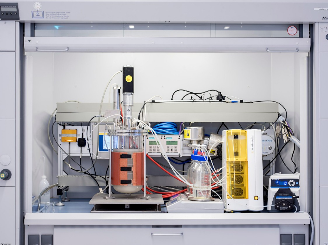 During fermentation, sensors and analysis devices record parameters that impact the quality of the bioprocess, such as pH and temperature.