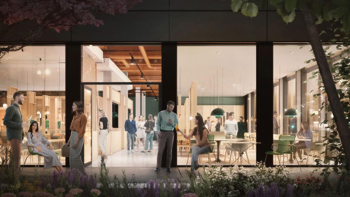 The Move Ensemble - Rendering Cafeteria mit Blick von außen in das Gebäuden