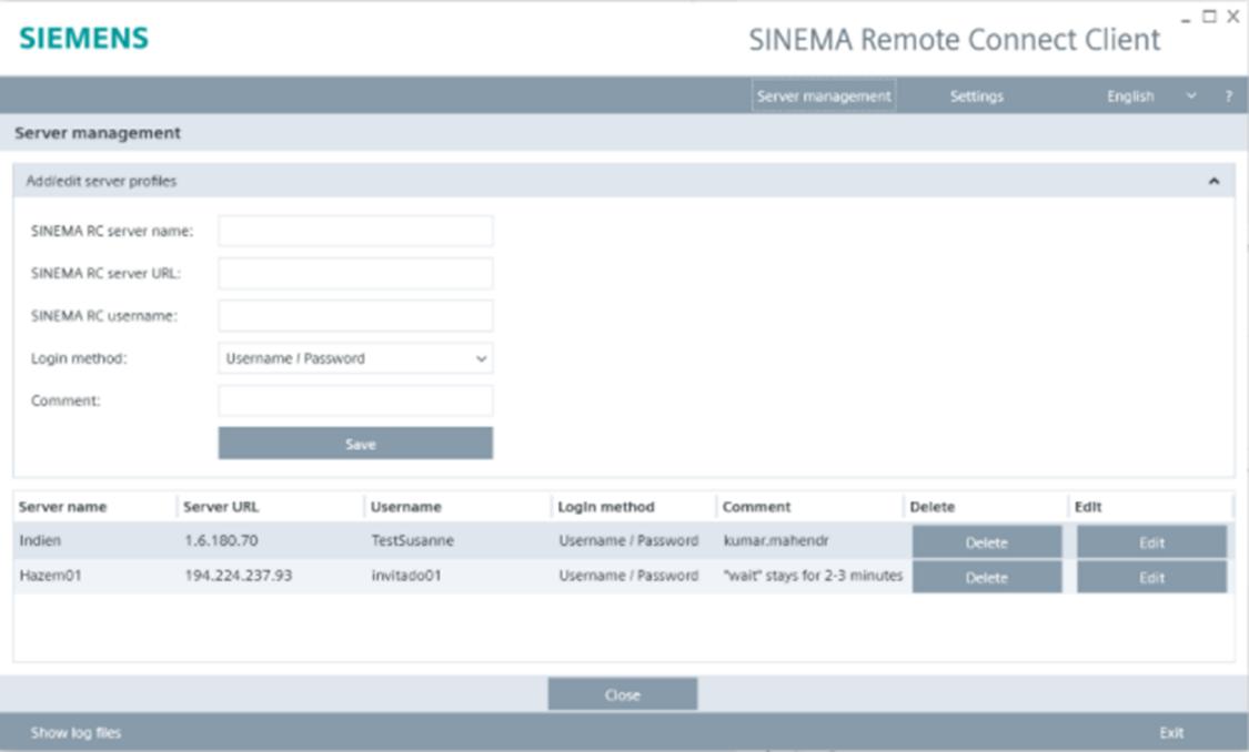 Skärmdump av SINEMA Remote Connect Client