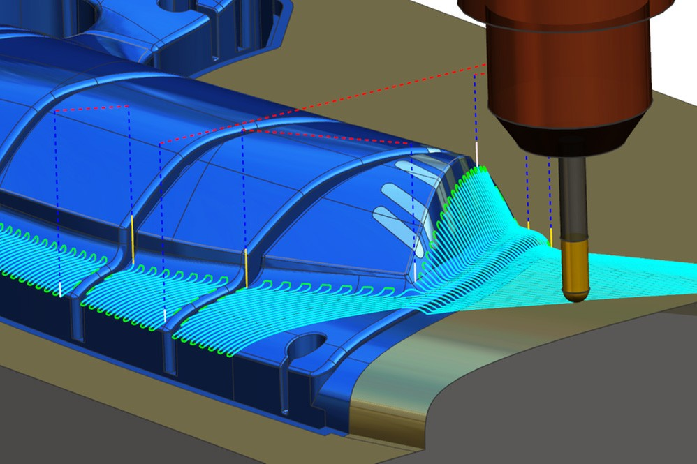 Den intelligenta funktionen i NX CAM för omberäkning av verktygsbanan möjliggör snabba finjusteringar för bästa möjliga resultat.