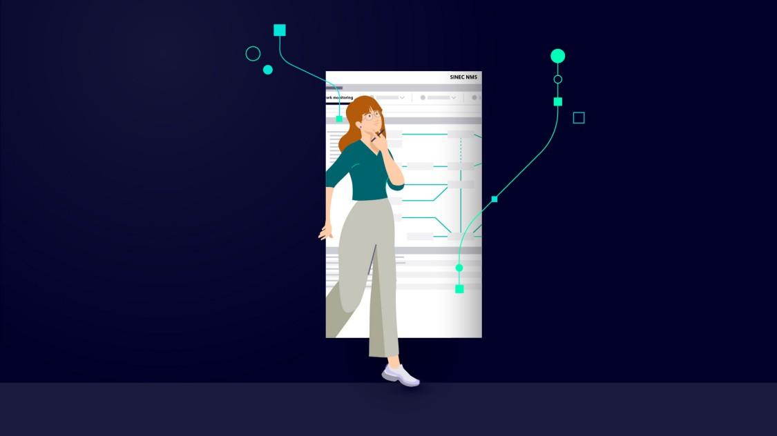 Muž stojící na vrcholu hory ovládající virtuální řídicí jednotku správy sítí SINEC NMS propojenou s produkty kdekoliv na Zemi