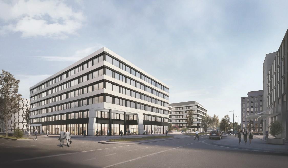 The Move Rendering der beiden Bürogebäude von der Straße aus.