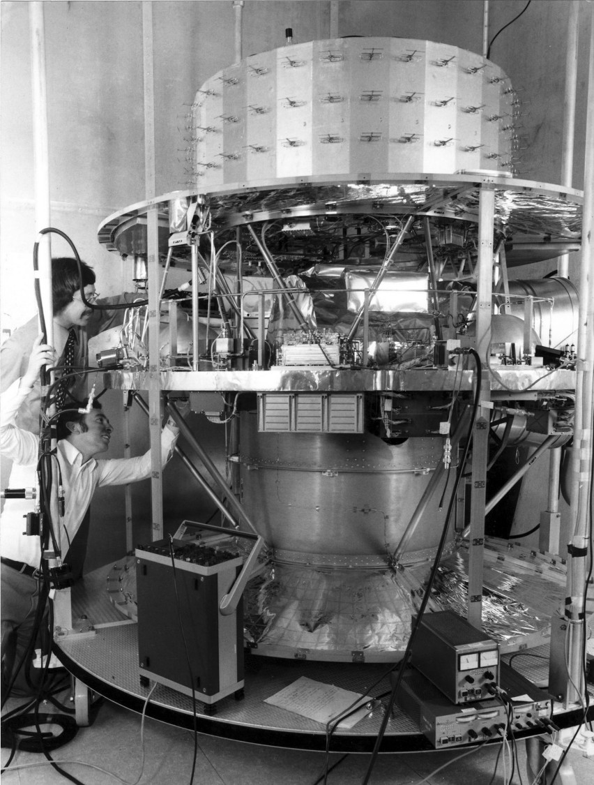 Technicians working on the weather satellite Meteosat