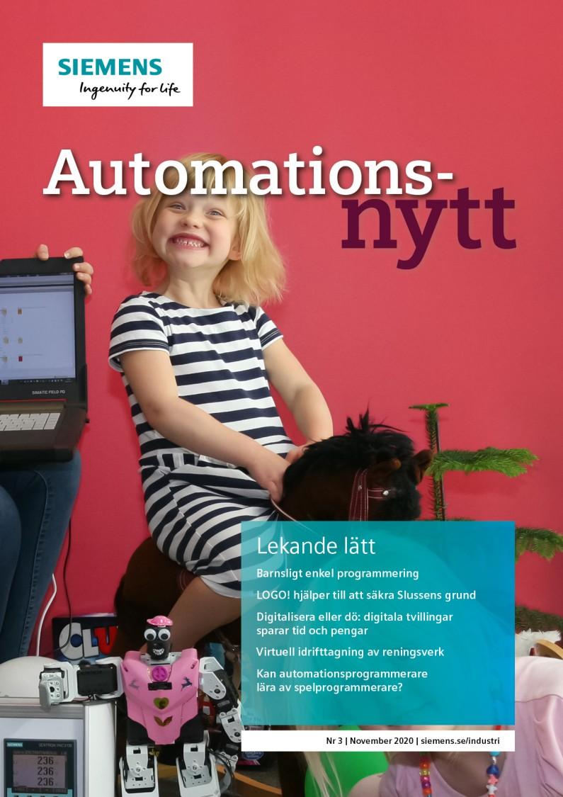 Omslag tidningen Automationsnytt Nr 3 November 2020