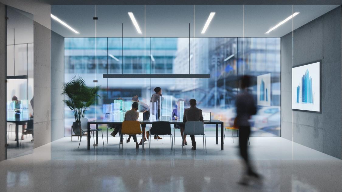 employees talking in office