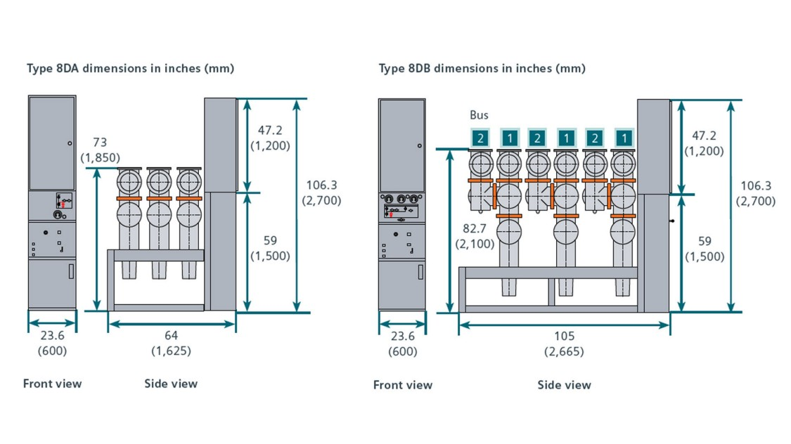 Type 8DA and Type 8DB dimensions graphic