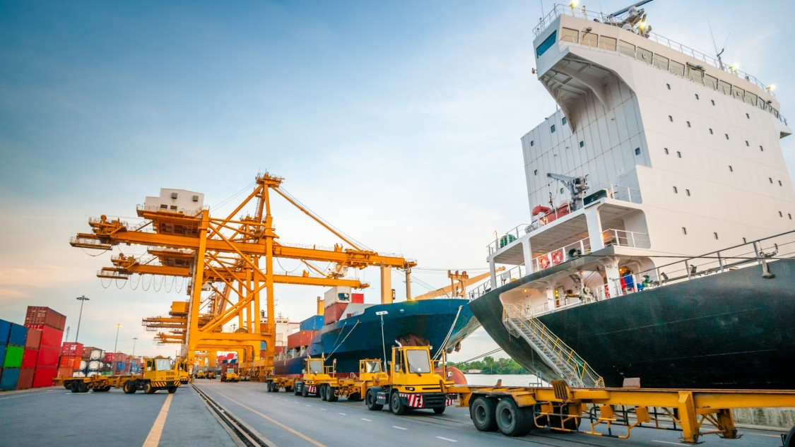 Cranes at a harbor