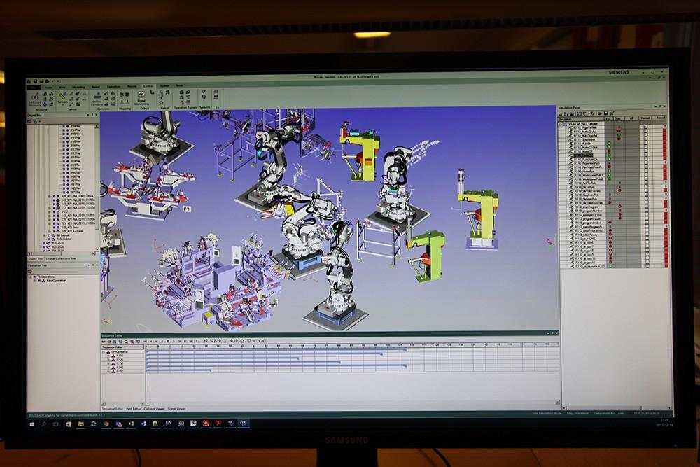 Robotikens rörelser och cellens utformning i Process Simulate.