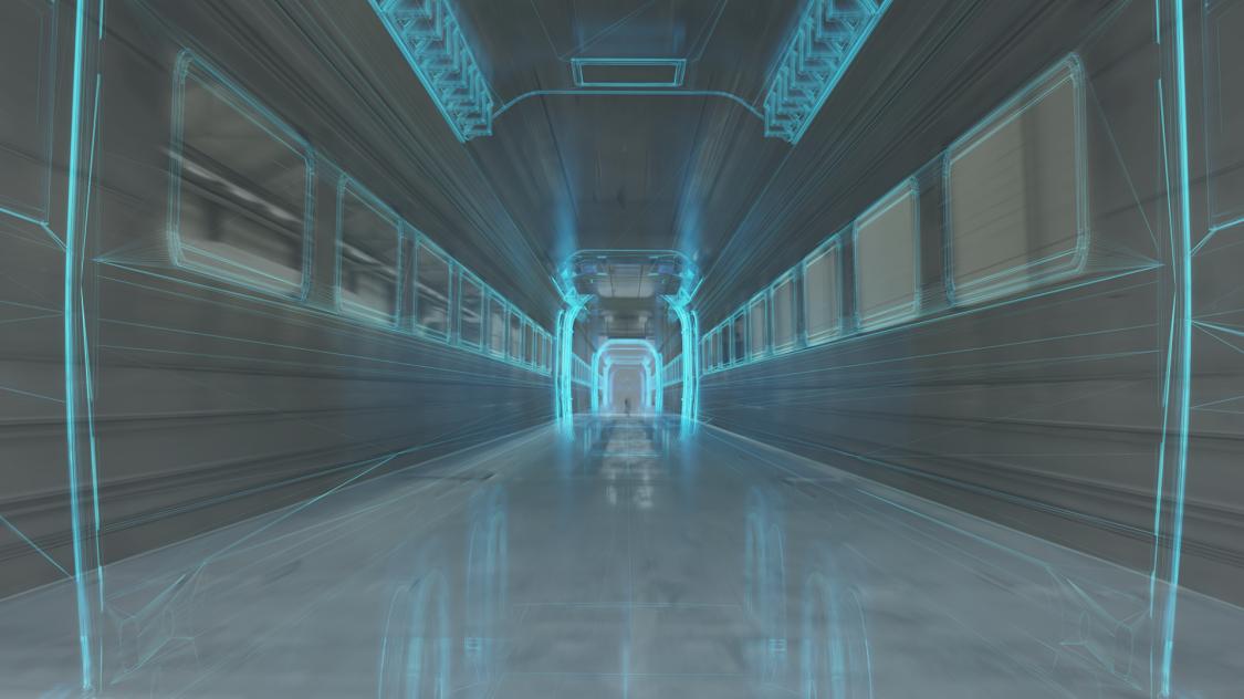 verschwommene Darstellung des leeren Zugwageninnenraums mit futuristisch anmutenden Linien, die die Maße und Strukturen des Zugwagens hervorheben