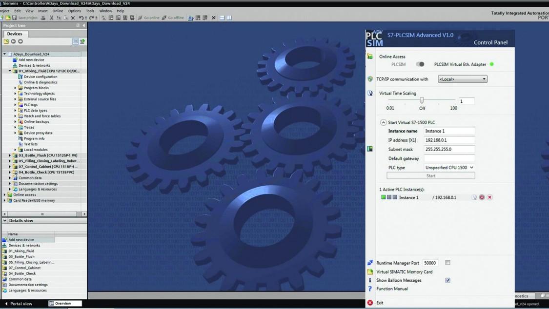 Screenshot of TIA Portal and PLCSIM Advanced