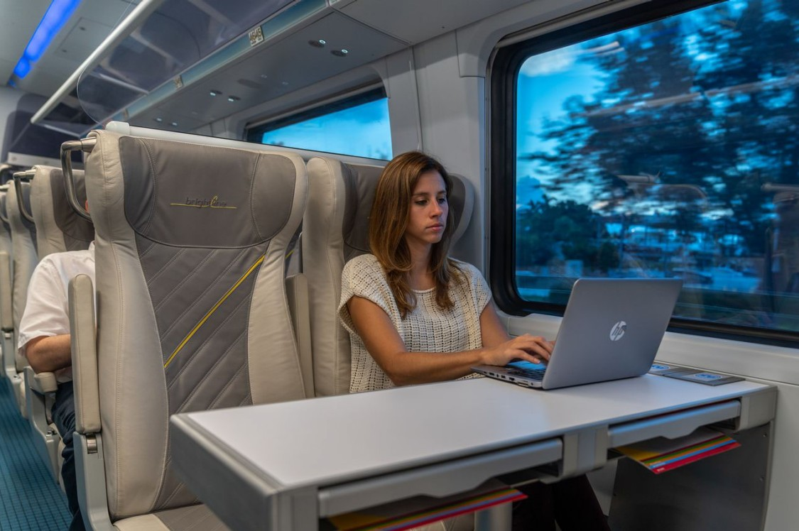 Women sitting on train with laptop
