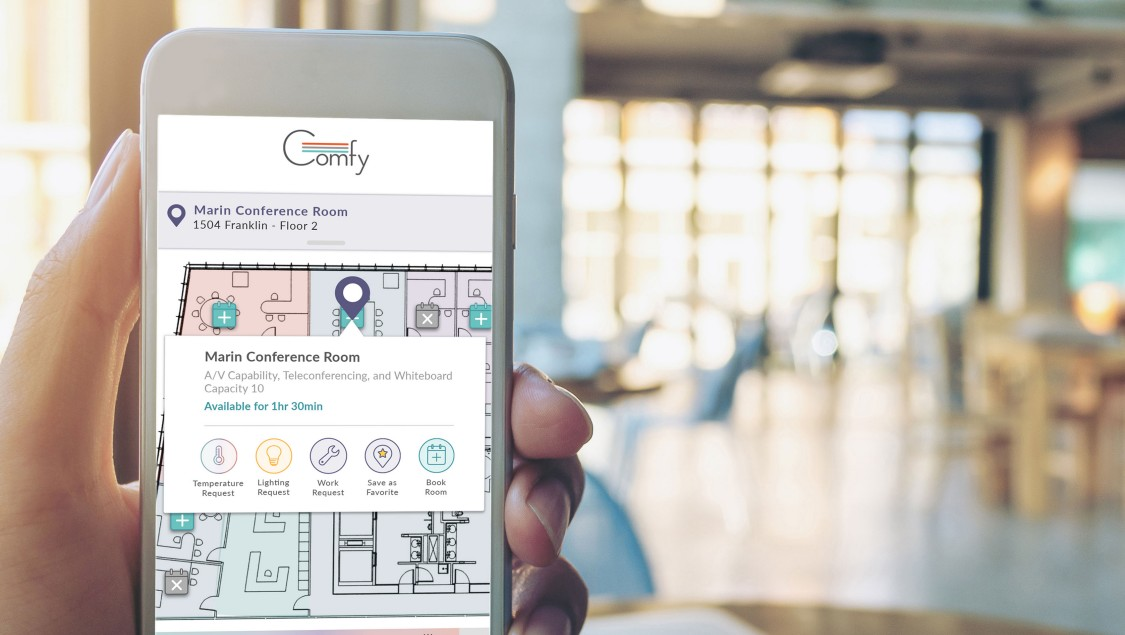 The Comfy workplace experience app allows employees to make immediate changes in temperature and lighting, and to book rooms.