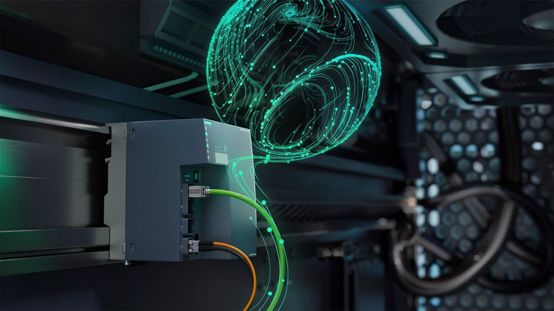 Stilisierte, grafisch bearbeitete Darstellung der SCALANCE LPE Local Processing Platform (lokale Verarbeitungsplattform) in einer digitalen Automatisierungsumgebung
