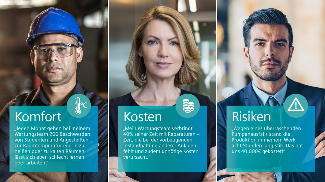 Drei Menschen, die mit den Wartungspraktiken ihrer Firma unzufrieden sind.