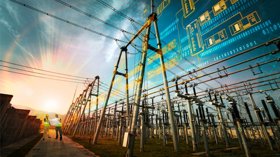 Artificially alienated representation of a substation automation solution in early daylight