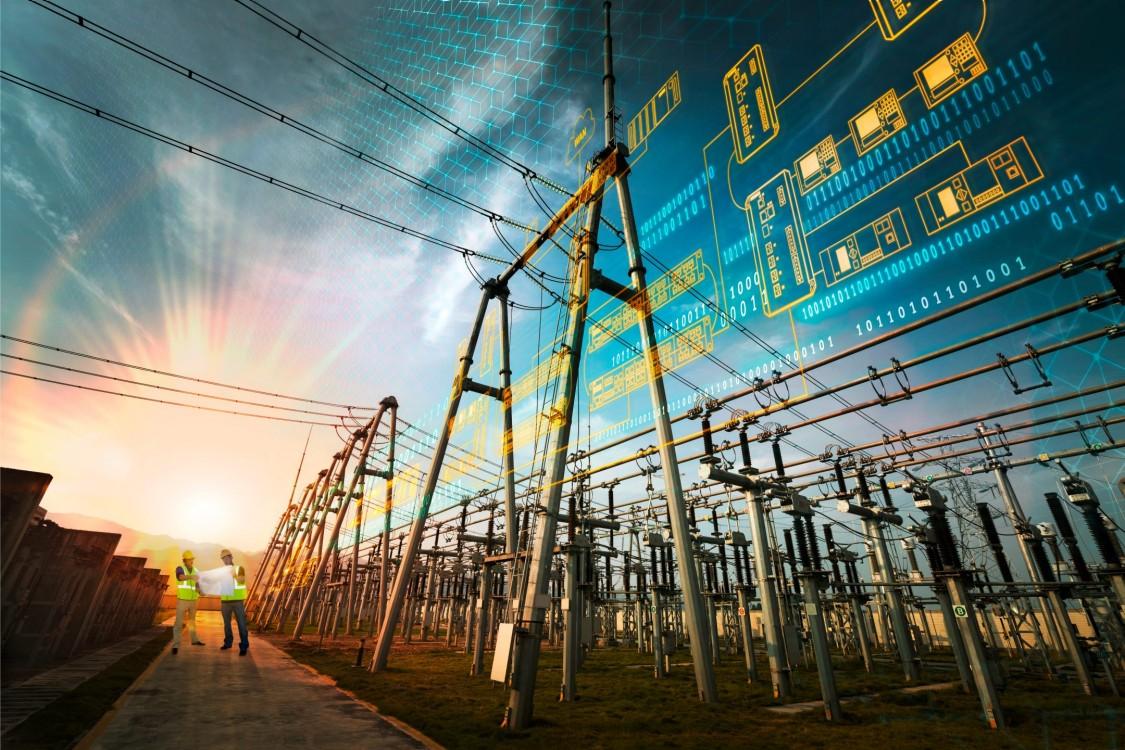 Rozlehlá síť elektrického vedení s grafickým znázorněním produktu Ruggedcom pro komunikaci v extrémních provozních podmínkách