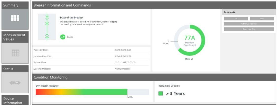 Wyświetlanie wskaźnika zużycia i pozostałej żywotności w oprogramowaniu monitorowania energii SENTRON powermanager