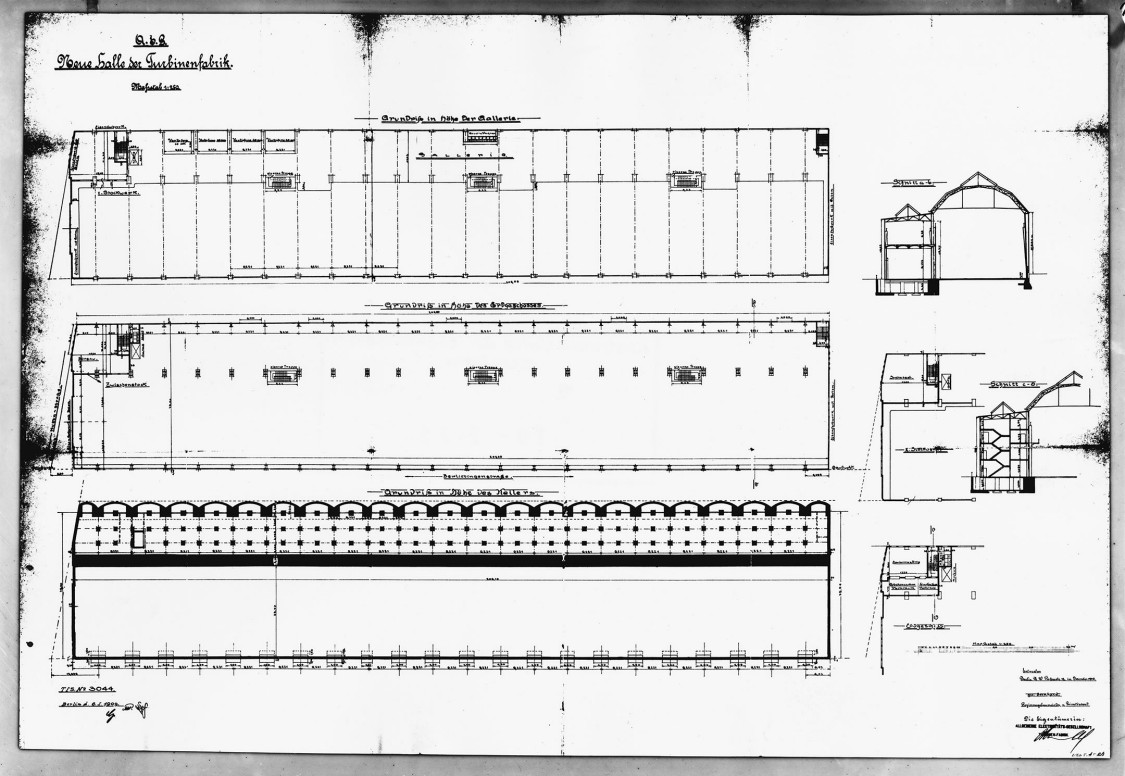 Rarely publicized: ground plans for individual hall sections drafted by Karl Bernhard, reproduction from 1976