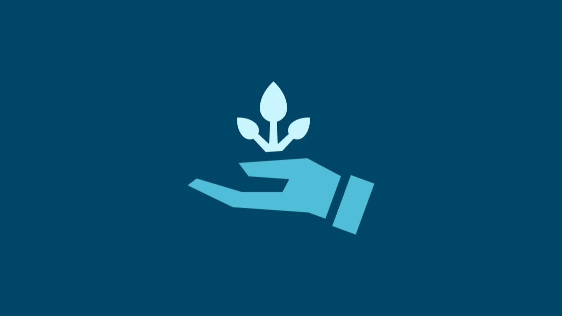 Symbol einer Pfanze, welche aus einer Hand wächst