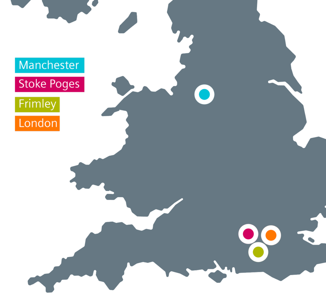 Map of UK with office locations