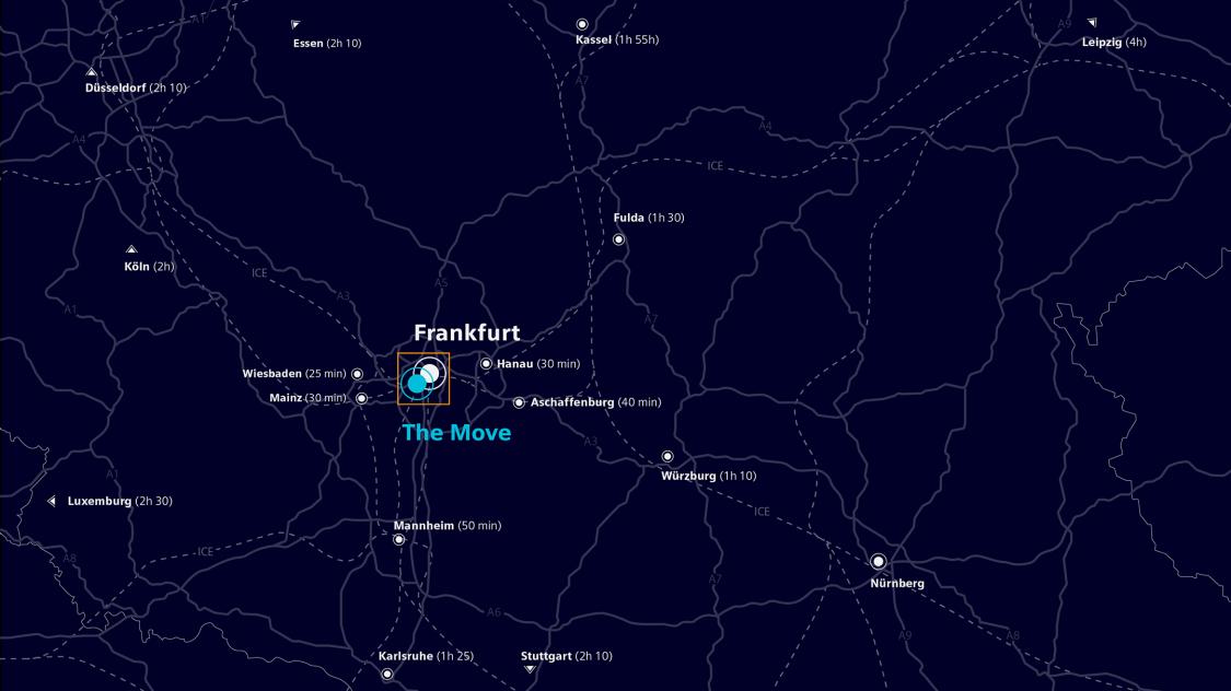 Kartenausschnitt von Mitteldeutschland mit Frankfurt The Move im Mittelpunkt
