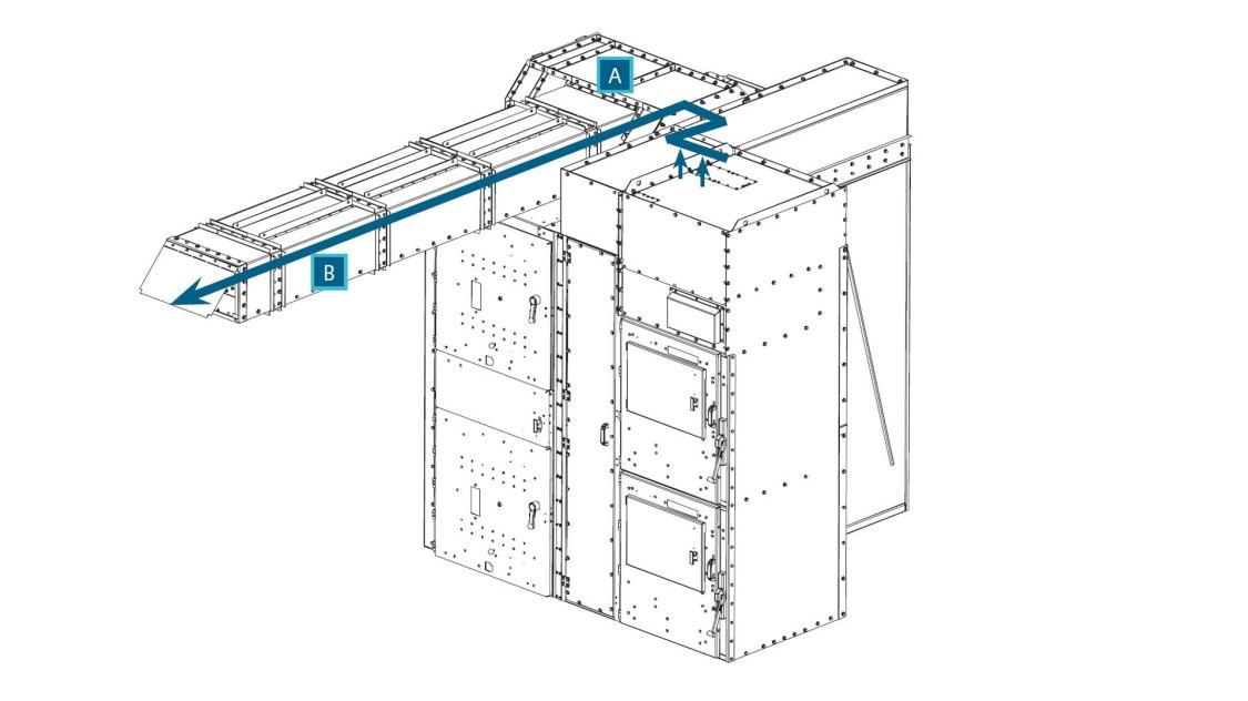 Arc venting for SIMOVAC-AR arc-resistant medium-voltage motor controller transition to GM-SG-AR arc-resistant medium-voltage switchgear