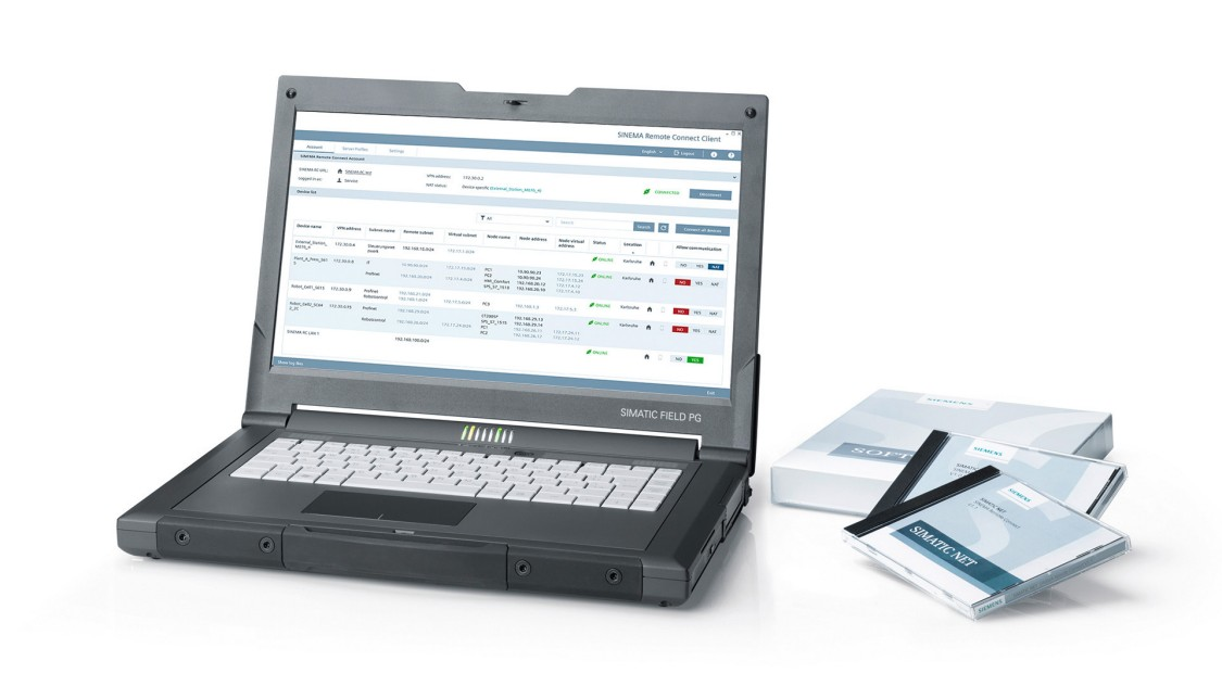 Image of a laptop with the user interface of SINEMA Remote Connect – the management platform for remote networks
