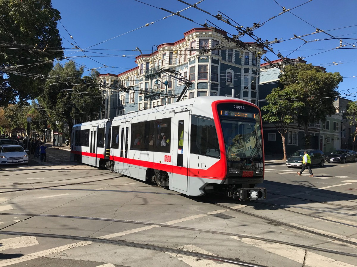 The picture shows the Siemens-built light rail vehicle in San Francisco.