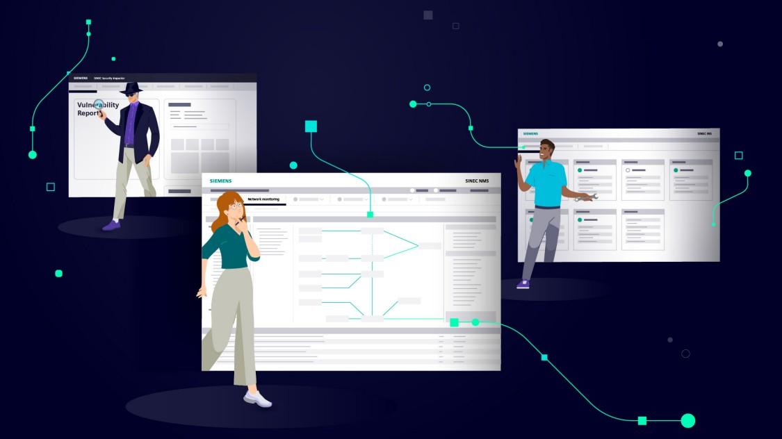 海に囲まれた島の産業用プラントの光景。プラントの上部には、SINECソフトウェアファミリの特長を示すデジタルグラフィックが表示されている。