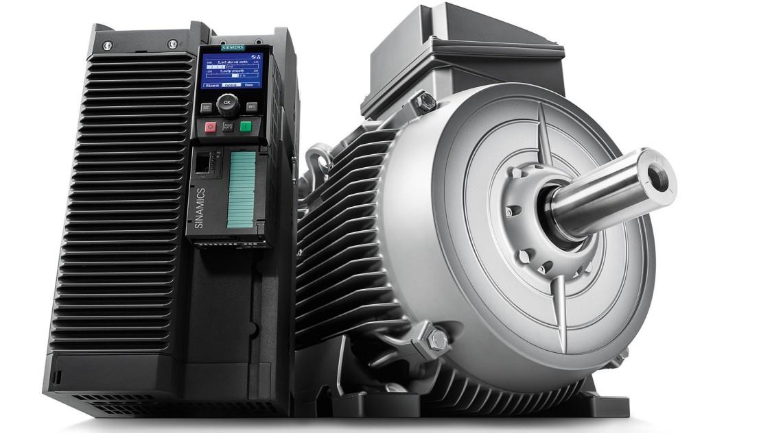 Produktfoto Siemens Antriebssystem aus SINAMICS Umrichter und SIMOTICS Reluktanzmotor.