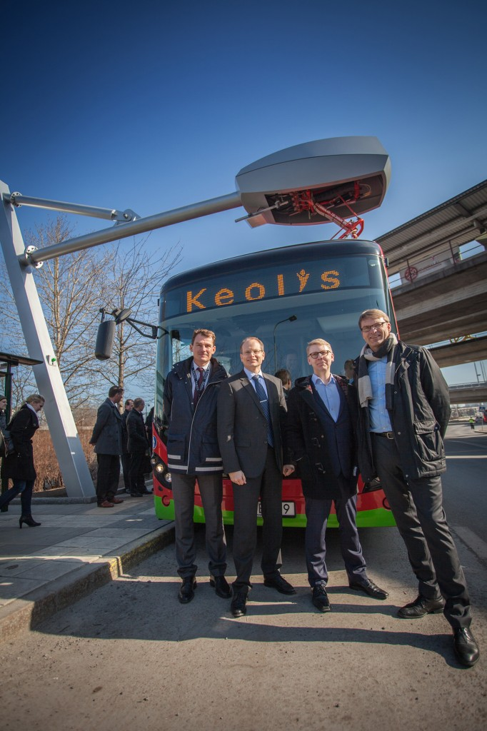In the picture, from the left: Magnus Åkerhielm, CEO Keolis (bus operator); Håkan Agnevall, CEO Volvo Buses; Kristoffer Tamsons, Traffic commissioner for  the County of Stockholm and chairman for the Stockholm public transport; and Ulf Troedsson, CEO Siemens Sweden.