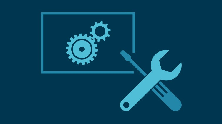 Icon of gears and tools