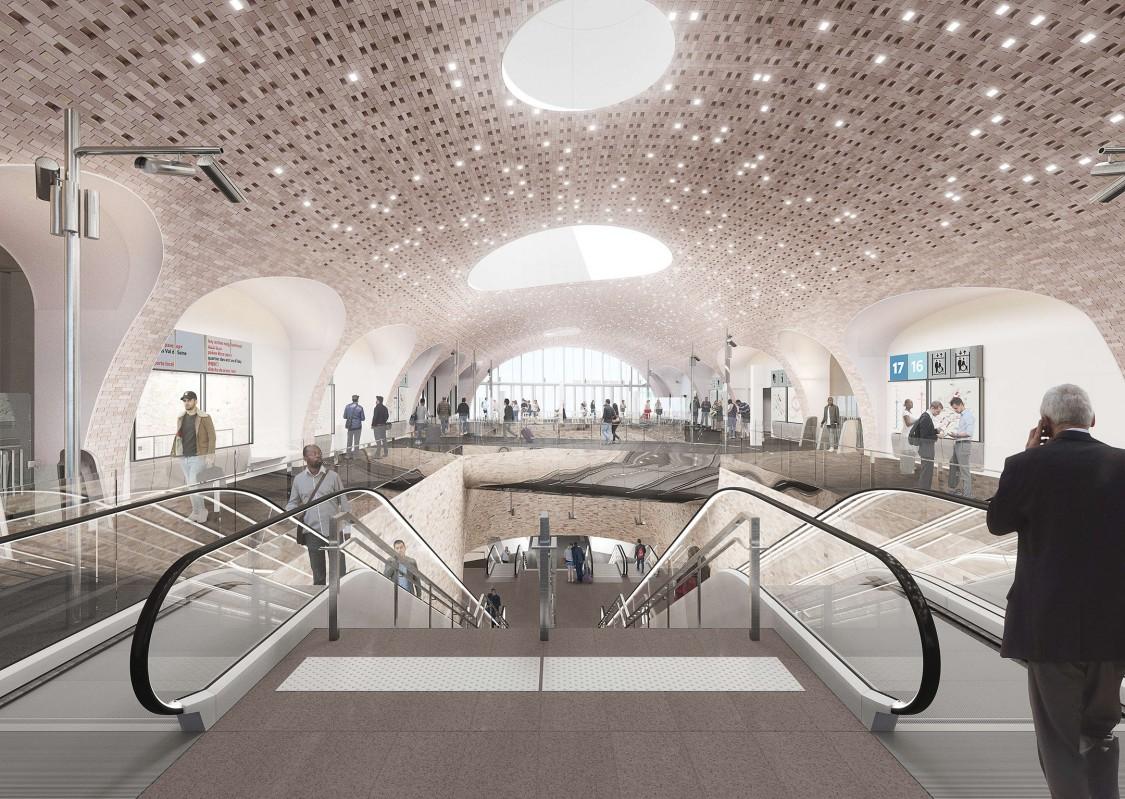 Perspective 3D de l'intérieur de la gare de La Courneuve Six-Routes