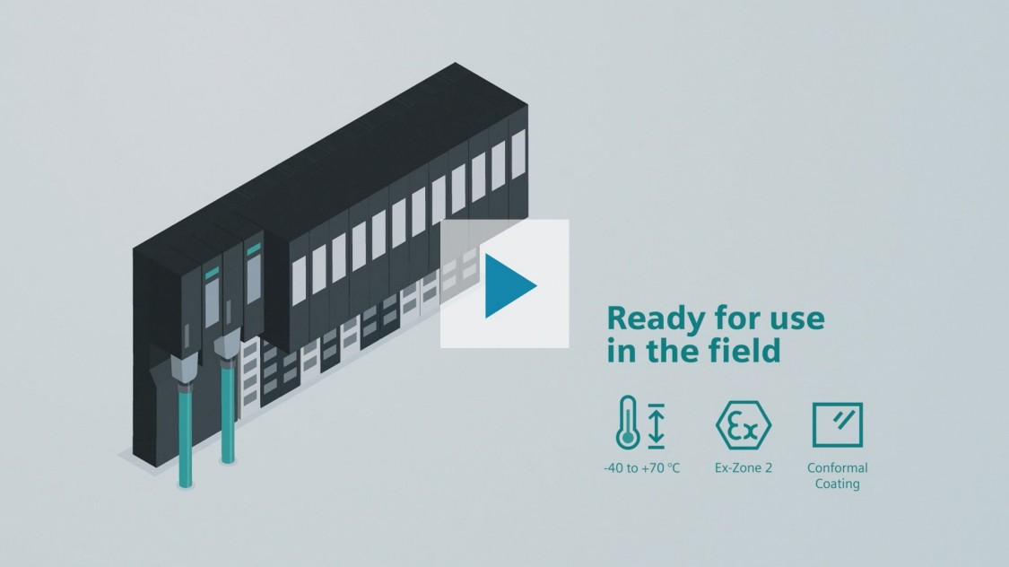"""Das Bild zeigt die dezentrale Peripherie SIMATIC ET 200SP HA auf grauem Grund. An sie angeschlossen sind zwei grüne PROFINET-Kabel. Rechts von der Produktabbildung steht geschrieben: """"Ready for use in the field"""". Darunter sind drei Icons zu den Produkt-Highlights zu sehen: einsetzbar bei Umgebungstemperaturen von -40 bis +70° C Temperatur, geeignet für den Einsatz in Ex-Zone 2 und ausgestattet mit Conformal Coating. Mit Klick auf den Play-Button wird ein Video abgespielt, in dem das Produkt vorgestellt wird."""