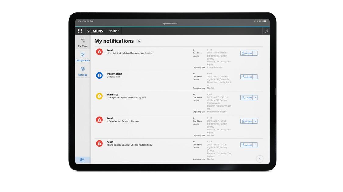 Beispiel einer Benutzeroberfläche der App Notifier auf einem Tablet