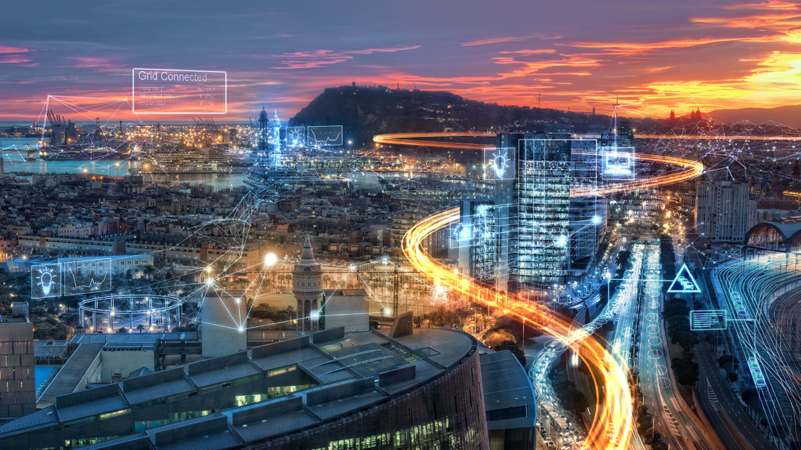digitally enhanced image of city and highways at sunset