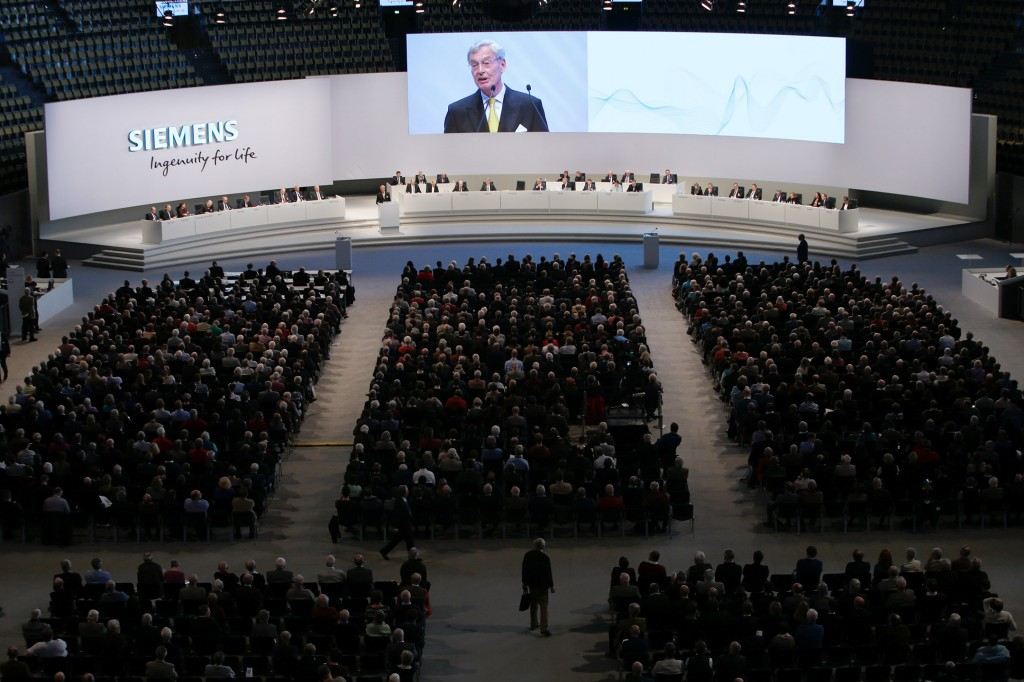 Annual Shareholders' Meeting 2017 of Siemens AG at the Olympiahalle in Munich, Germany