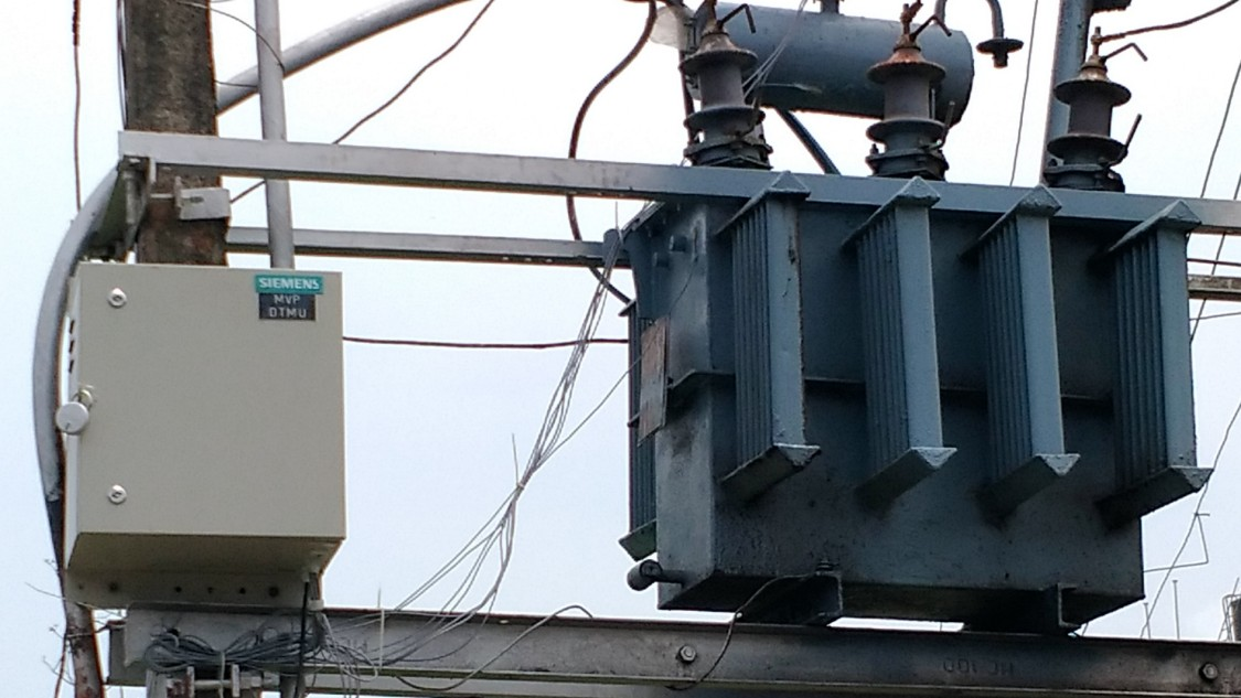 Transformer retrofitted with four sensors and a router for a field trial of the oil-level monitoring system in India's federal state of Goa.