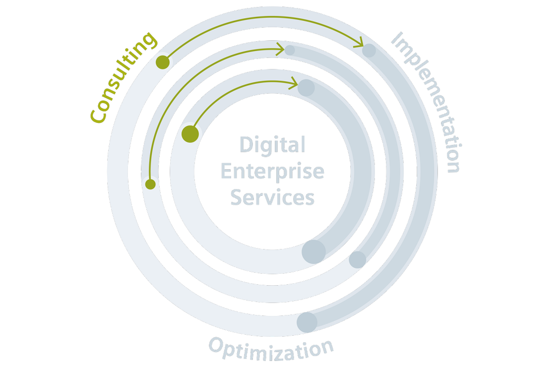 Optimal individual preparation, planning, and implementation of digital transformation for companies in the process industry.