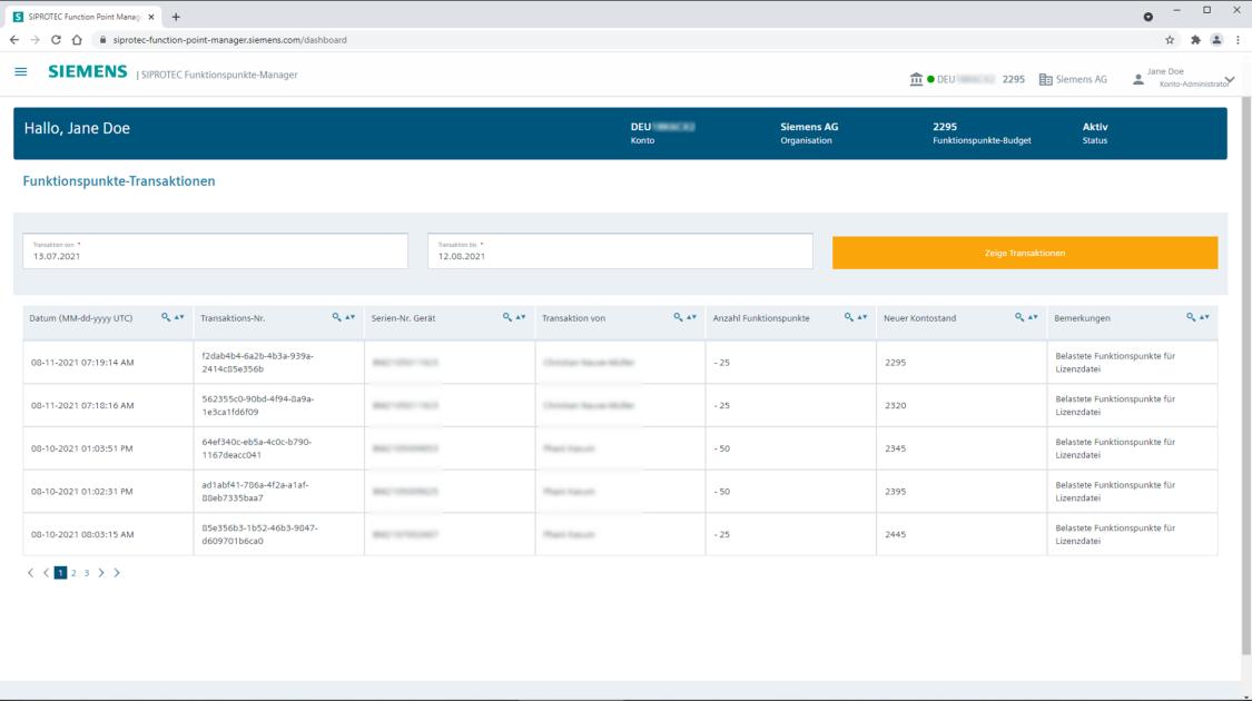 SIPROTEC Funktionspunkte-Manager - Kontoüberblick