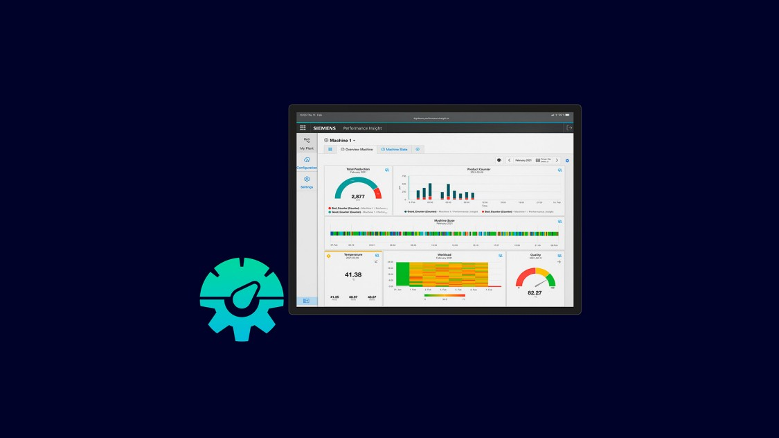 Beispiel einer Benutzeroberfläche der App Performance Insight auf einem Tablet, im Hintergund eine Automatisierungsanlage