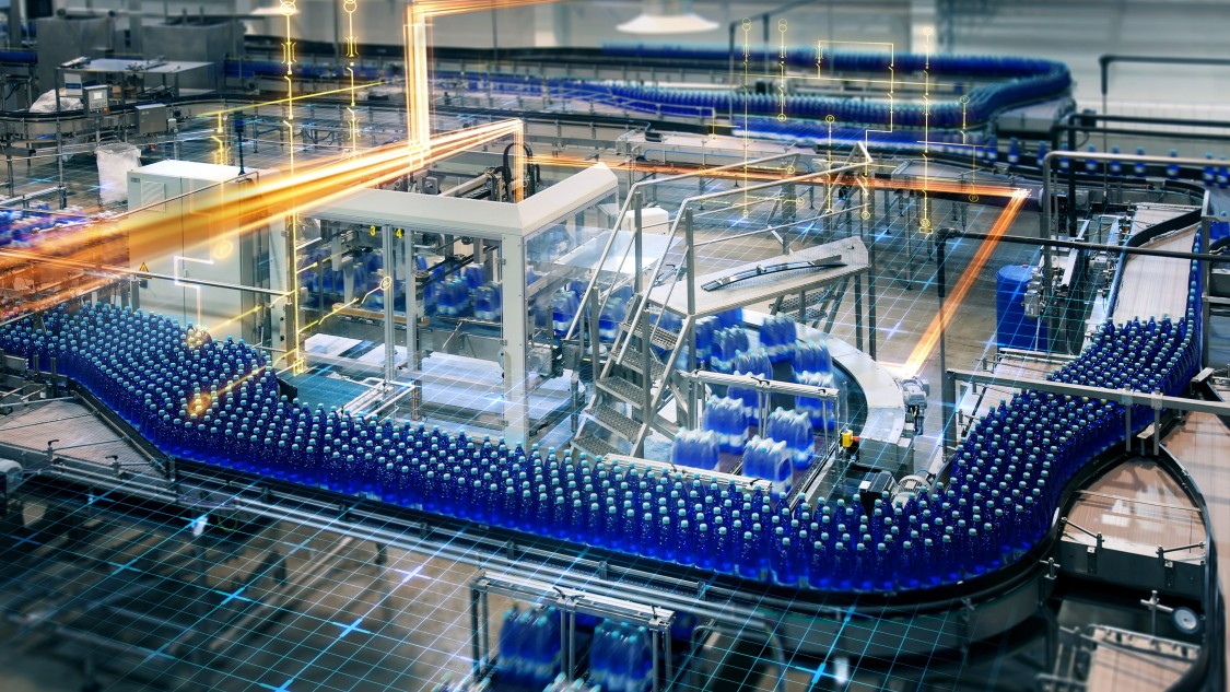 Overview of a food and beverage plant showing automated systems.