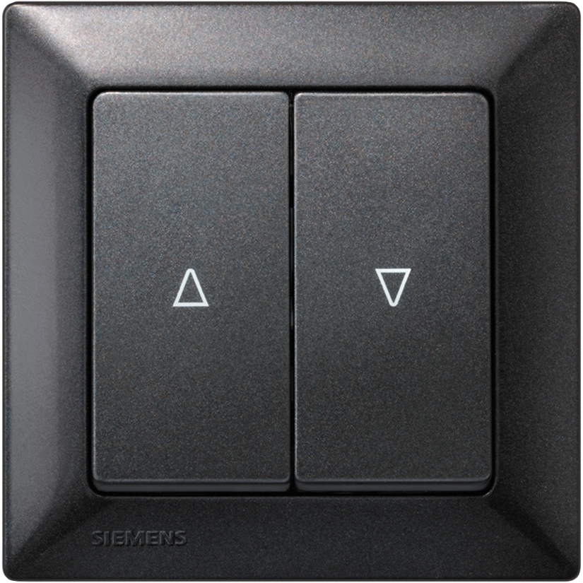 Двухлавишные выключатели GAMMA instabus с символом – чёрный металлик