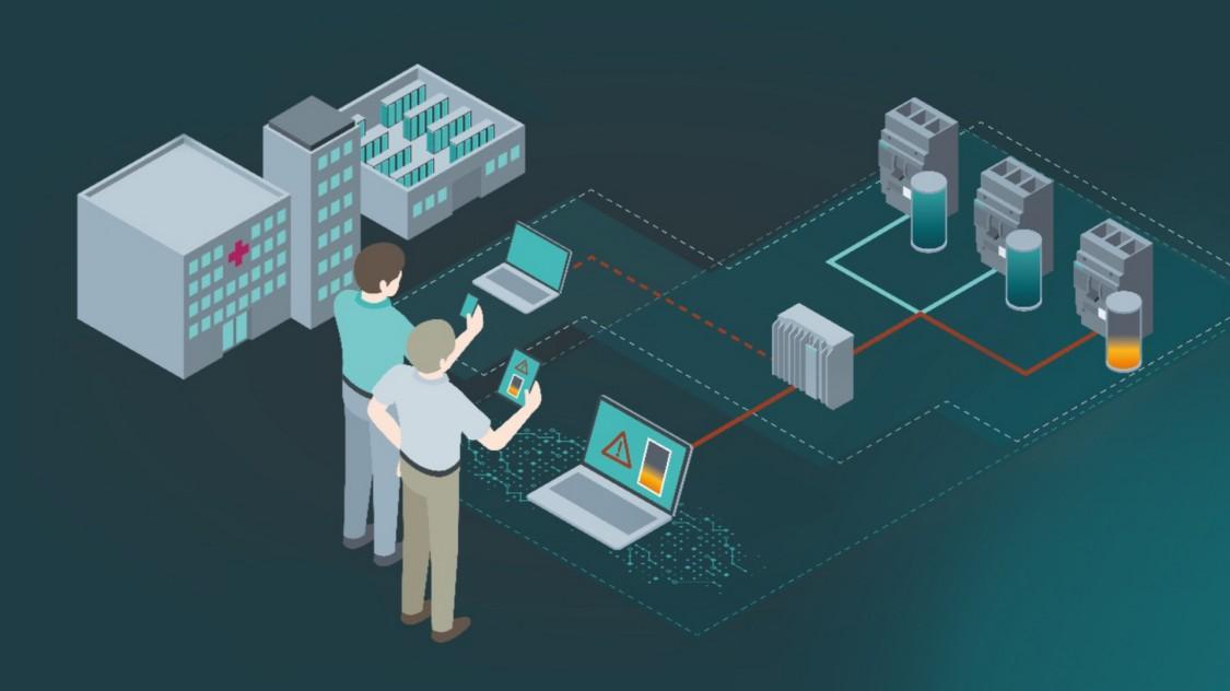 Anwendungsgrafik Condition Monitoring mit durch SENTRON Software digital unterstützter elektrischer Energieverteilung