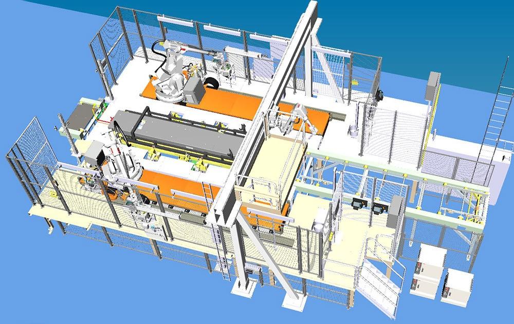 Virtuell modell av SSD-stationerna gjord i Process Simulate.