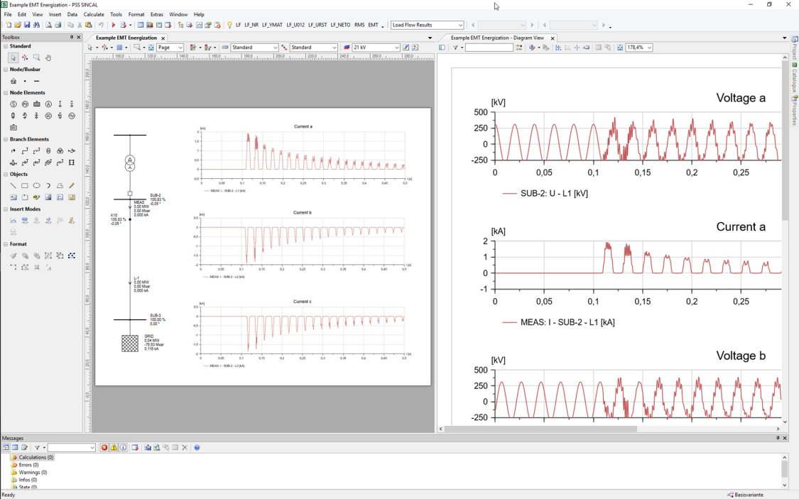 PSS®SINCAL Electromagnetic Transients Module Screenshot