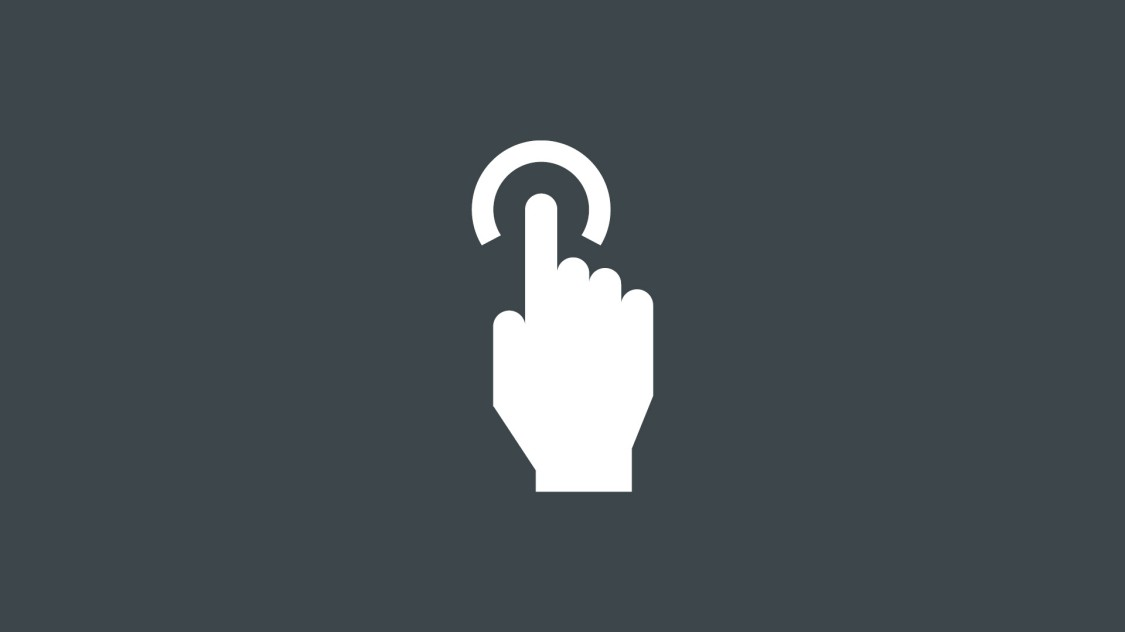 Icon for data handling with SINEC NMS: a hand making a touch with the index finger, indicated by a circle.